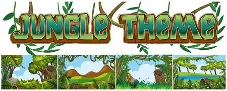 Set of jungle landscape illustration
