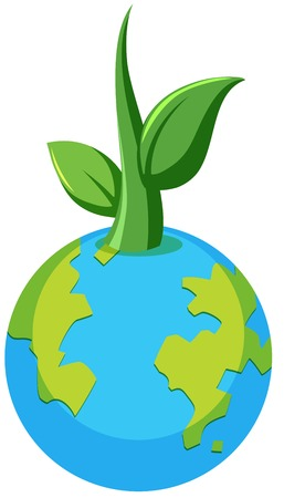 Planet earth plant concept illustration