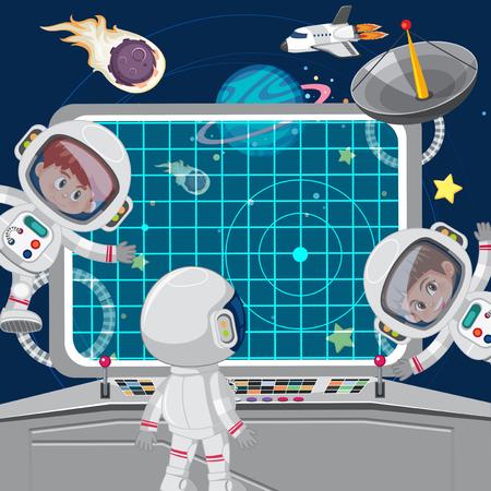 Children astronuats on a spaceship illustration Vector Illustration