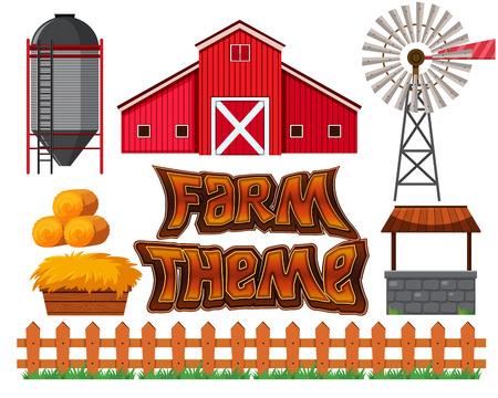 Set of farm scene illustration