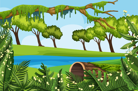Natural outdoor park scene illustration