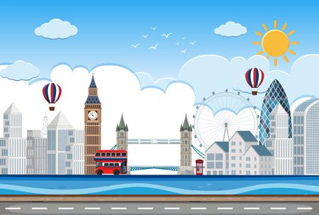 London city lin scene illustration Illustration