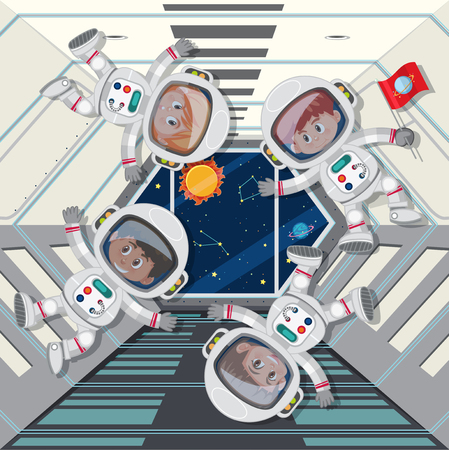 astronauts floating in space ship illustration