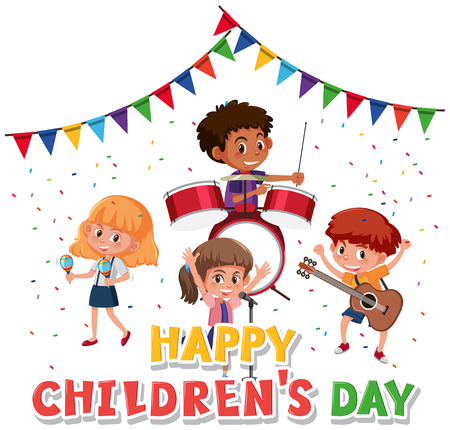 Happy children's day character illustration Banque d'images - 127098433