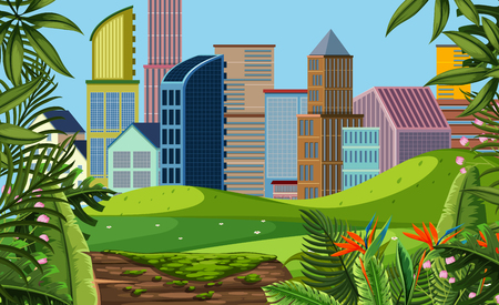 A modern city view from park illustration