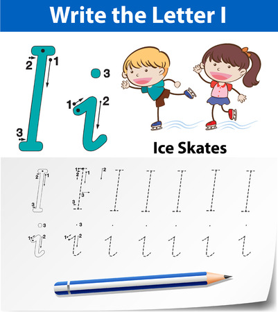 Letter I tracing alphabet worksheets illustration