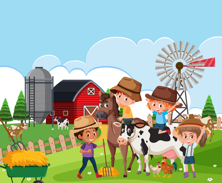 Niños en la ilustración del paisaje de la granja Ilustración de vector