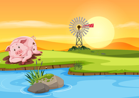 Pig in the dirt illustration