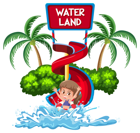 Isolated girl in water park illustration