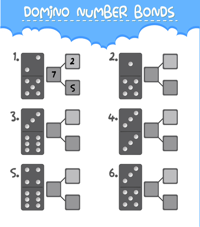Domino number bonds worksheet illustration