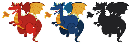 Set of dragon character illustration