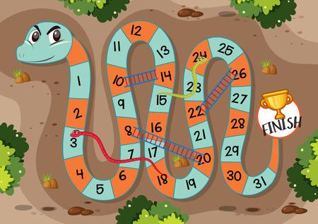 Schlangenleiter-Spielvorlagenillustration