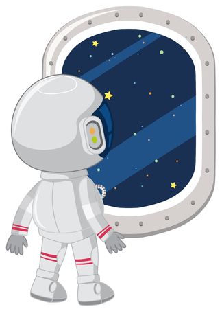 An astronaut look out window illustration Ilustração