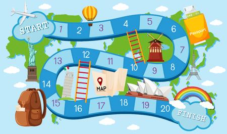 Ilustracja motywu podróży szablon gry planszowej Ilustracje wektorowe