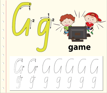 Letter G tracing alphabet worksheets illustration