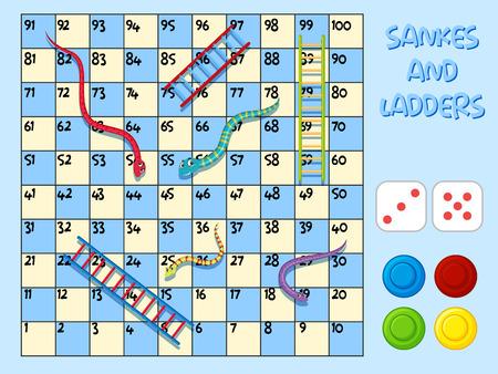 Schlangen und Leiterspielvorlagenillustration