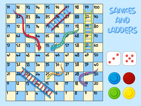 Węże i ilustracja szablonu gry drabinkowej