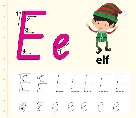 Letter E tracing alphabet worksheets illustration