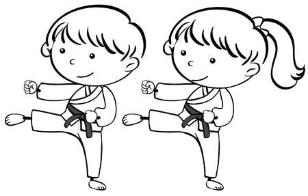 A sketch of karate kids illustration