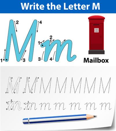 Letter M tracing alphabet worksheets illustration