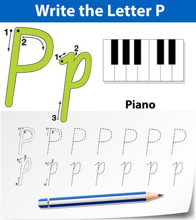 Letter P tracing alphabet worksheets illustration