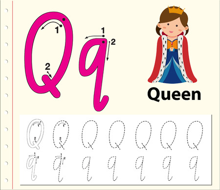 Letter Q tracing alphabet worksheets illustration
