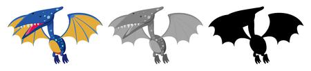 Set of pteranodon dinosaur illustration Illustration