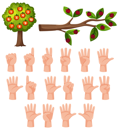 Count math number hand gesture illustration