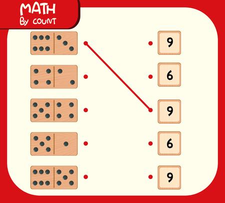 Domino matching number worksheet illustration Vector Illustration