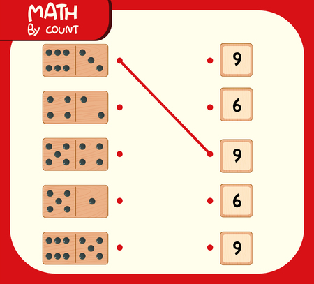 Illustration de la feuille de calcul des numéros correspondants Domino Vecteurs