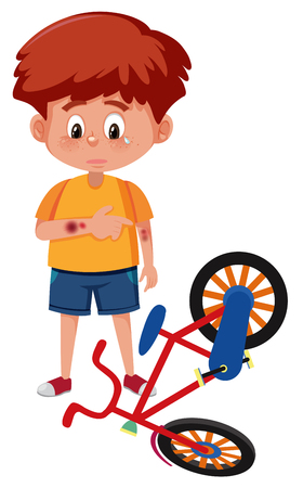 Young boy having bruise illustration Vector Illustration