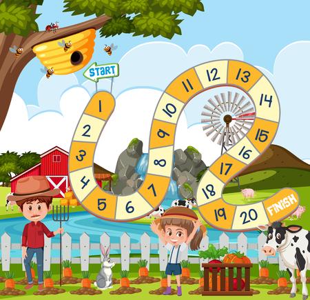 Ilustracja szablonu gry planszowej Ilustracje wektorowe