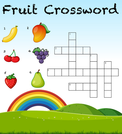 A fruit crossword game template illustration