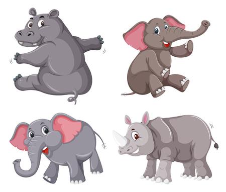 Zestaw ilustracji postaci zwierząt