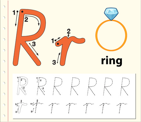 Letter R tracing alphabet worksheets illustration Vettoriali
