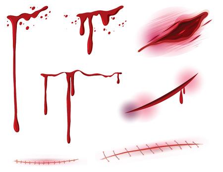 Zestaw ilustracji krwi i rany