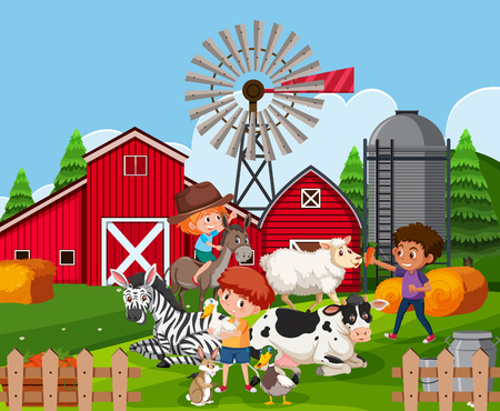 Children at farmland with animals illustration