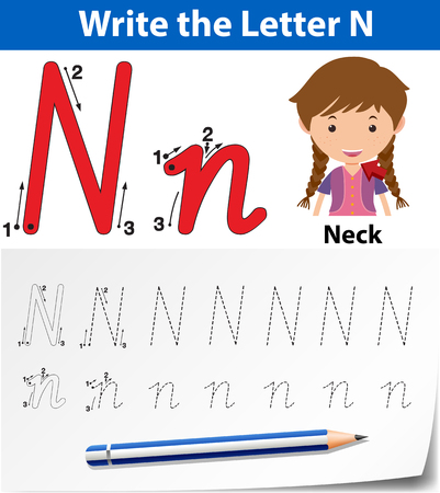 Letter N tracing alphabet worksheets illustration