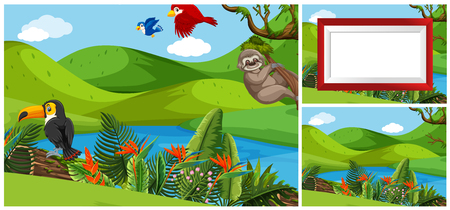Set of animal in nature template illustration