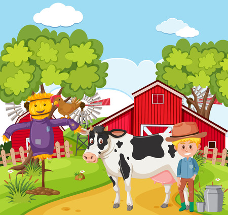 Farmer milking the cow illustration