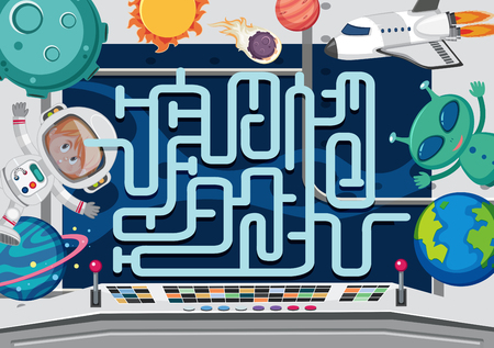 A space maze game template illustration