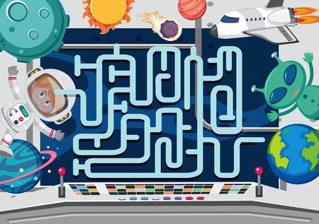 Eine Illustration einer Weltraumlabyrinth-Spielvorlage