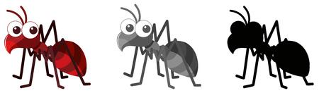 Conjunto de ilustración de personaje de hormiga