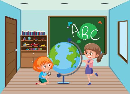 Student in the classroom illustration Ilustracja