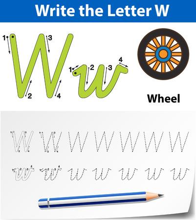 Letter W tracing alphabet worksheets illustration