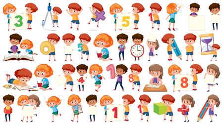 Set of math kids illustration