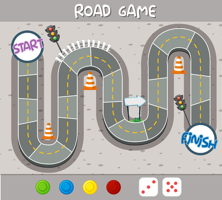 A road board game template illustration