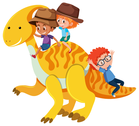 Children riding a parasaurolophus illustration Ilustração