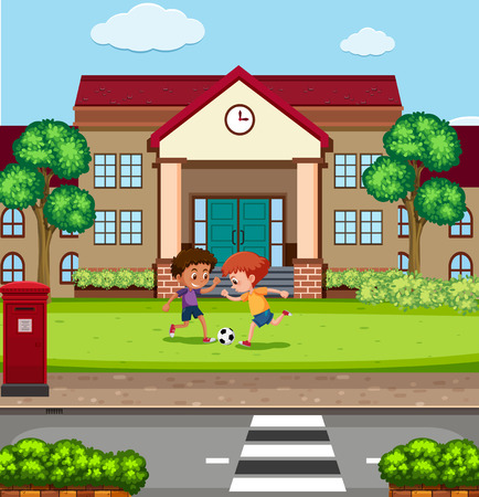 Boys playing fooyball in front of school illustration