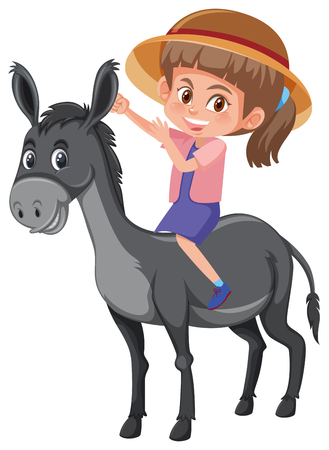 A girl riding donkey illustration